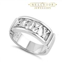 925 Sterling Silver ARMY Band Ring Gift Bag Jewellery Womans Mens