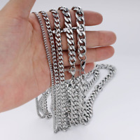 18-36'' MENStainless Steel 3/5/7/9/11mm Silver Tone Cuban Curb Chain Necklace