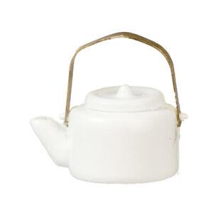 Miniature Dollhouse White Tea Kettle Pot 1:12 Scale New