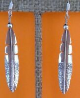 Native American Sterling Silver Dangle Earrings - Single Feather