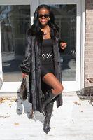 Mint Designer Full Length Sable black Mink Fur Coat Jacket Stroller S-M 0-8