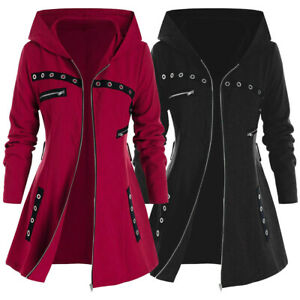 , Hoodie Kapuzenjacke Sweatjacke lang Mantel Sweatshirt Zip Herbst Winter Jacke Mit Kapuze Lange Gef/üttert Auifor Damen Kapuzenpullover