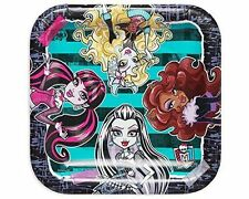 "Monster High 7"" Square Stripe Dessert Plates 8 Count Birthday Party Supplies"