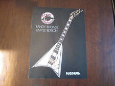 JACKSON RR LTD GUITAR AD - RANDY RHOADS CUSTOM SHOP GUITAR - 1990's AD
