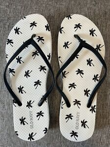 Old Navy Womens Flip Flops Sz. 8 White W/Black palm trees