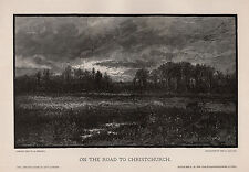 """Anthony Wharton HENLEY 1800s Woodcut """"On the Road to Christchurch"""" SIGNED COA"""