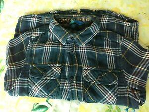Camicia bimbo 6-7 anni 122 cm in caldo cotone a quadretti giallo blu notte Ovies