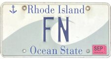 2013 Rhode Island Wave License Plate #FN TWO CHARACTER Firearms Manufacturer NR