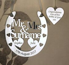 Personalised Mr & Mrs Good Luck Horseshoe Bridal Keepsake with TAG and GIFT BAG