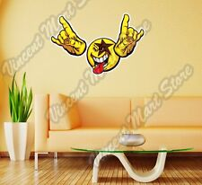 "Smiley Face Emoticon Rock n Roll Kiss Wall Sticker Room Interior Decor 25""X20"""