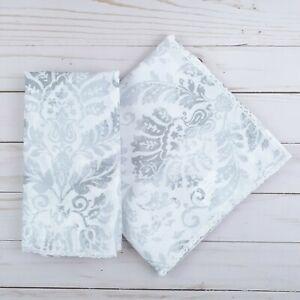 Fabric Dinner Napkins Lace Edge Gray Paisley 17x17 Set of 4