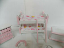 DOLLHOUSE BEDROOM SET- YOUNG GIRL'S 7-PC. WHITE & PINK