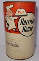 LARGE Rare Old Vintage 1950s HARRISON HOUSE CHEF CINNAMON GRAPHIC SPICE TIN 5 LB