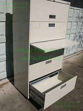 """HON® 500 Series Lateral File Cabinet, 36"""" Wide, 5-Drawer, Putty with LOCK & KEY"""