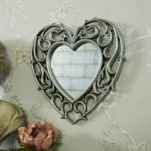 Silver heart shape filigree wall mounted mirror shabby ornate chic girly bedroom
