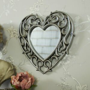 Silver heart shape filigree wall mounted mirror shabby ornate chic girly bedroom
