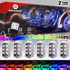 6pc Motorcycle LED Neon Glow Pod Lights Ground Effect Kit - Harley SUV ATV