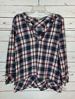 Crescent Stitch Fix Women's S Small Navy Plaid Long Sleeve Cute Top Shirt blouse