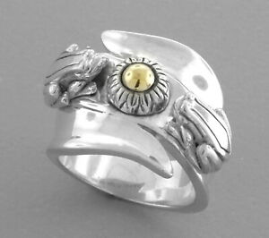 KIESELSTEIN CORD 14K GOLD STERLING SILVER FROG LILYPAD LADIES RING SIZE 7