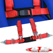 2 Jdm 4 Point Harness Racing Seat Belt Strap With Buckle Red For Honda