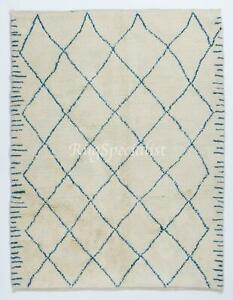 New Contemporary Moroccan Wool Rug in Ivory and Blue Colors
