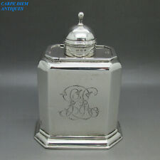 More details for antique queen anne style nice solid sterling silver tea caddy box 165g birm 1897