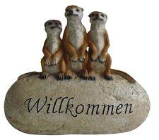 Erdmännchen Stein WILLKOMMEN Gartendeko Dekoration Figur Dekostein Deko