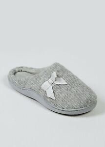 ladies Grey Hidden Support Mule Slippers Sizes 3-8 Nightwear