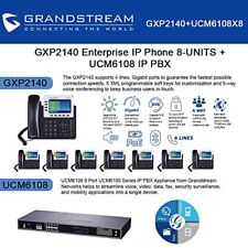Grandstream GXP2140 8-UNITS Enterprise IP phone, + UCM6208 8 Port IP PBX New