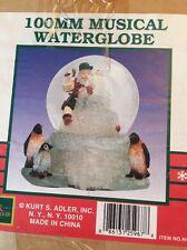 NIB 100mm Musical Waterglobe Water Globe by Kurt Adler Santa's World Penguins &