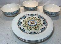 """Set Pier 1 Import """"Athena"""" 3 Soup Cereal Bowls & 3 Dinner Plates embossed floral"""