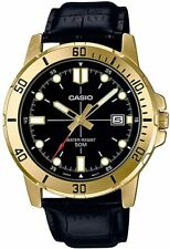 Casio Men's Enticer Leather Band Gold Tone Black Dial Casual MTP-VD01GL-1EVUDF