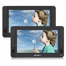 """2x 10.1"""" portátiles DVD Player auto reposacabezas pantalla monitor TFT USB SD, batería"""