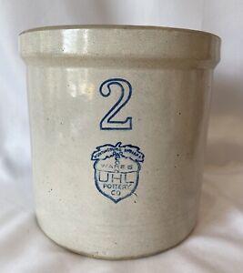 "Antique UHL Co Acorn Wares Pottery 2 Gallon Crock Indiana Huntingburg 9"" Tall`"