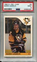 1985 OPC Hockey #9 Mario Lemieux Penguins Rookie Card RC Graded PSA MINT 9