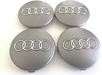 4 Pcs 60mm AUDI Grey  Wheel Center Caps Emblem Badge Hub Rim Caps 4B0601170