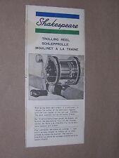 Shakespeare Mulinello PESCA A STRASCICO. pesca sportiva, la pesca BROCHURE. circa 1970