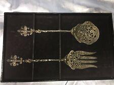 1940's Silverplate Baroque Fork & Spoon Serving Salad Set Signed By Adler NS