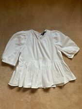 Primark Size 8 White Cotton Poplin Puff Sleeve Peplum Blouse