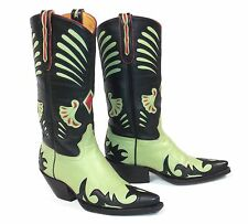 Rockin' Liberty Cowboy Boots - Wm's 5.5B Green Black Inlaid Overlays Red Accents