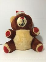 Vintage Musical Christmas Brown Teddy Bear Light Up Heart Plush Plays Songs 17""