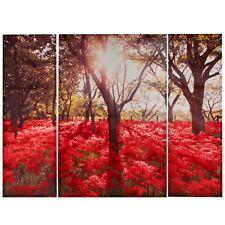 Triptych Canvas Set 3 Floribunda Forest Trees Red Flowers Wall Art Picture Decor