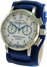 Riedenschild Herrenuhr Handaufzug Schaltrad Chronograph Lederband Unterlage blau