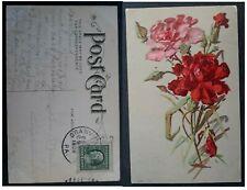 1909 United States Postcard-Flowers Scene ties 1c stamp cd Granville
