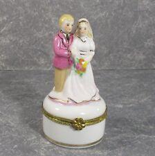 """Wedding Bride & Groom Limoges china hinged trinket box 4"""" � D3"""