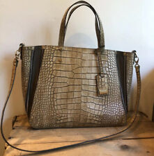 CLAUDIA Firenze Made In Italy Large Croc Leather Tote Purse Shoulder Crocodile