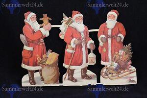 3 Stück org. alte Weihnachtsmänner aus Papier geprägt um 1920 Obladen