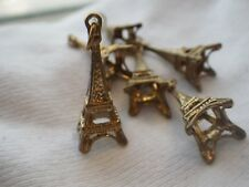Eiffel Tower Pewter Alloy Antiqued Golden Charm Pendants One Inch 6 pcs