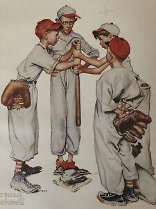 Norman Rockwell Baseball Sports Portfolio Lithograph