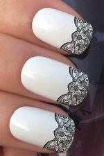 WATER NAIL TRANSFERS BLACK SCALLOP LACE FRENCH TIP WATER DECALS STICKERS *657
